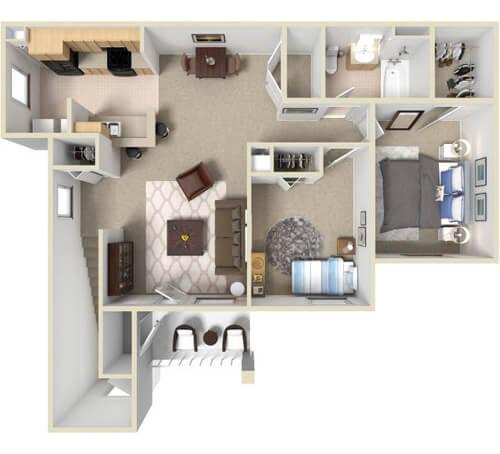 The Hoosier   Two Bedroom, One Bathroom